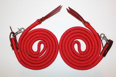 Rope Split Reins shown with latigo waterloops and stainless steel scissor snaps.