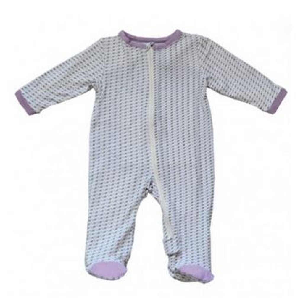 93c96c125 Bamboo Footed Sleeper Leaf Print Lilac - Silkberry Baby - Ava s ...