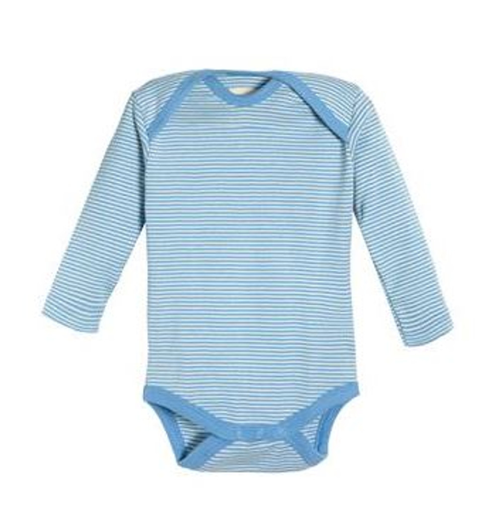 cde3d3be5 Living Crafts Organic Cotton Long Sleeve Onesie - Blue Stripes - Ava's  Appletree - Waldorf Toys - Montessori Toys - Cloth Diapers in Canada!