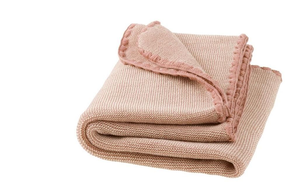 Disana Merino Wool Baby Blanket - Melange Rose/Natural