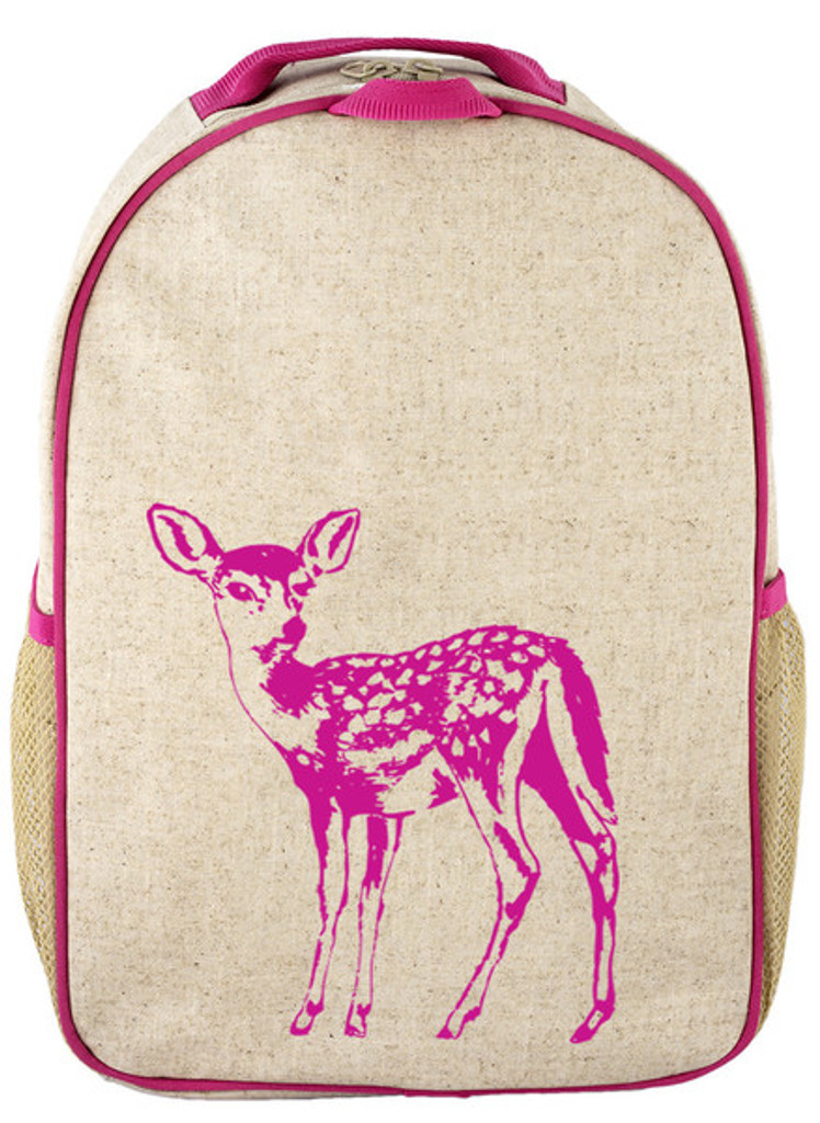 So Young Raw Linen Toddler Backpack - Pink Fawn
