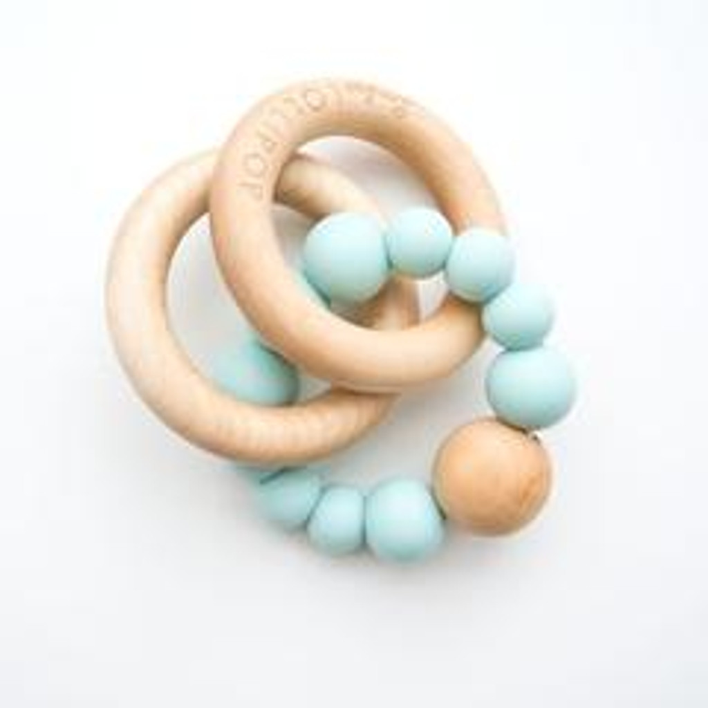 Teether by Loulou Lollipop - Wood and Silicone - Robins Egg Blue