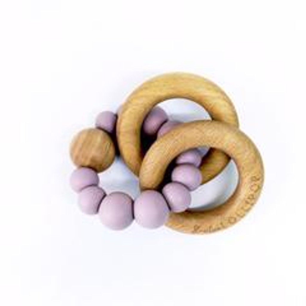 Teether by Loulou Lollipop - Wood and Silicone - Dusty Mauve