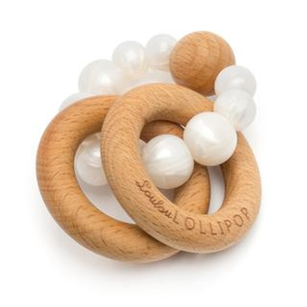 Teether by Loulou Lollipop - Wood and Silicone - Pearl