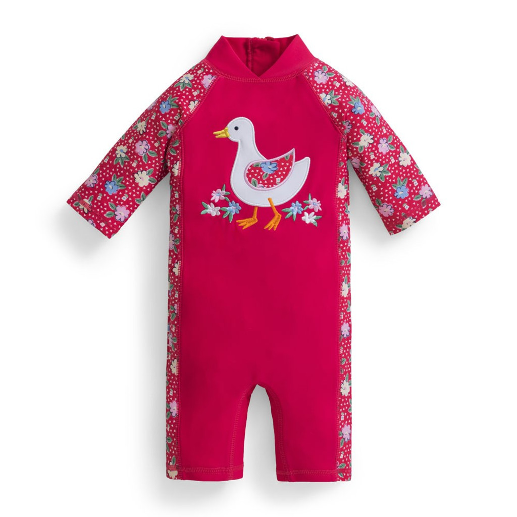 a31988a4e7 Jojo Maman Bebe UV One-Piece Swimsuit Pink with Duck - UV Swimsuits for  Toddlers - Ava's Appletree