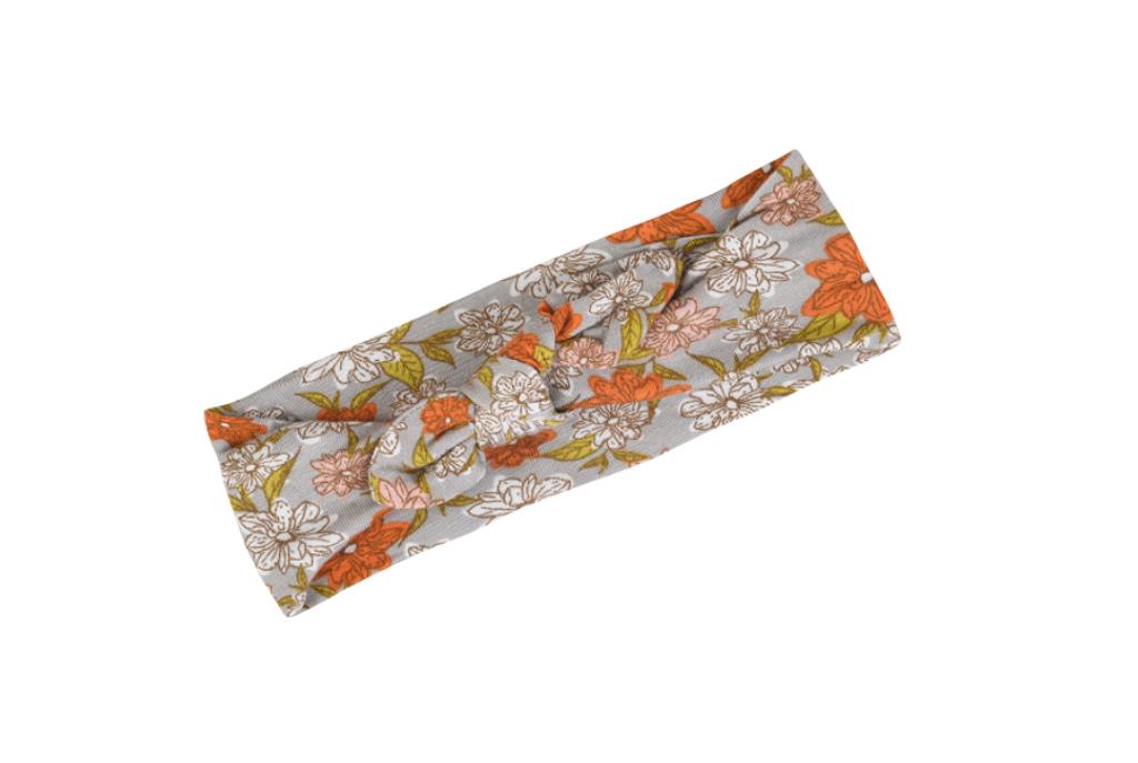 Grey Floral Bow Headband by Milkbarn - Bamboo