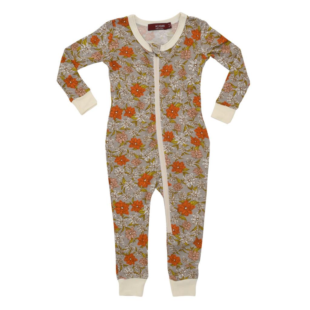 Milkbarn Bamboo Zipper Pajamas - Grey Floral