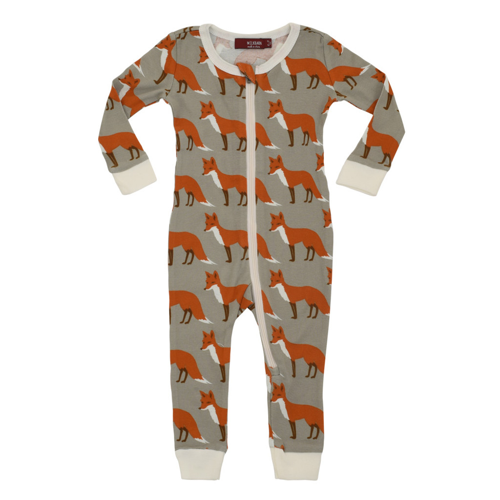 Milkbarn Organic Cotton Zipper Pajamas - Orange Fox
