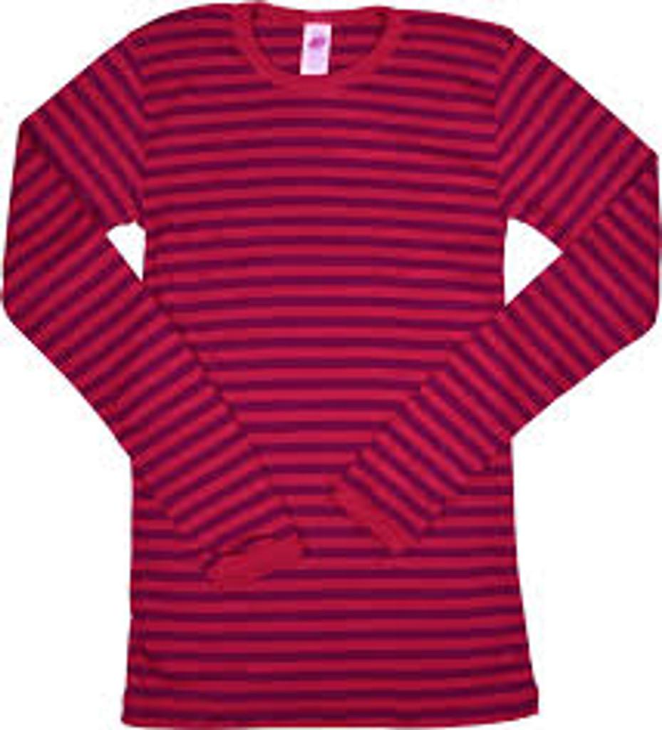 Engel Organic Merino Wool/Silk Kids Shirt - Cherry Red/Orchid