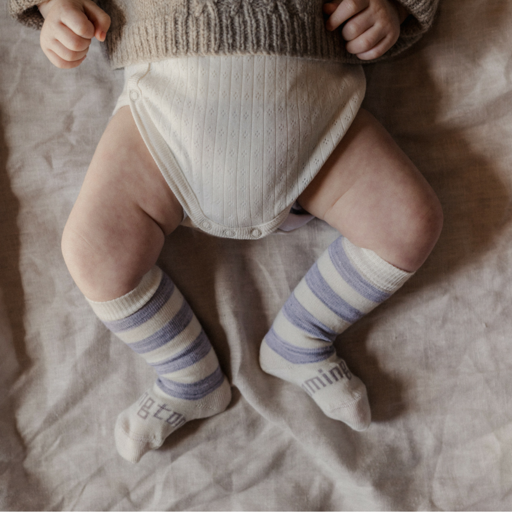 Lamington Knee-High Wool Socks Willow (Cream/Grey Stripes) (only up to size 1-2 yrs)