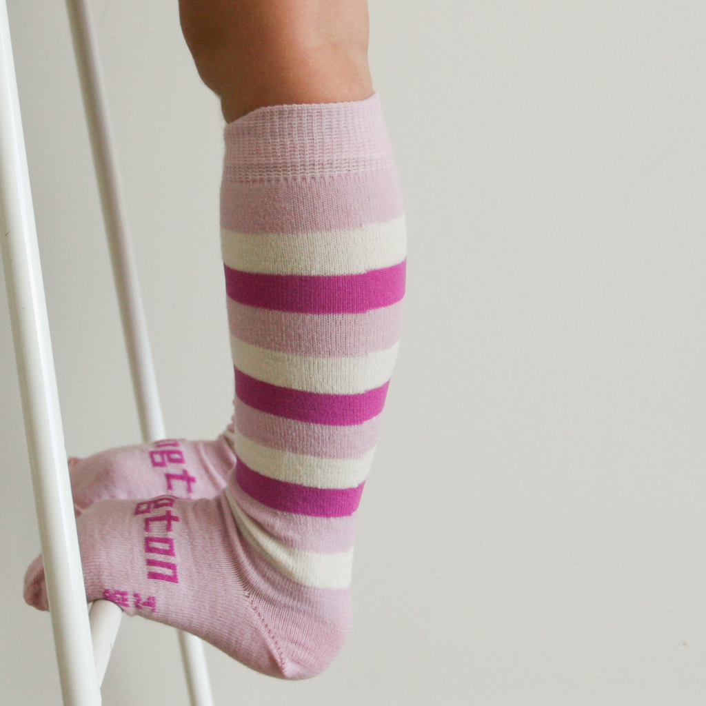 Lamington Knee-High Wool Socks Sorbet Pink Stripes