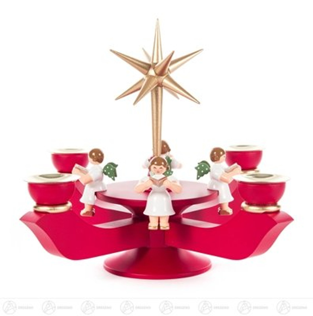 Advent Small Candle Holder Red with Gold Star - Sitting Angels