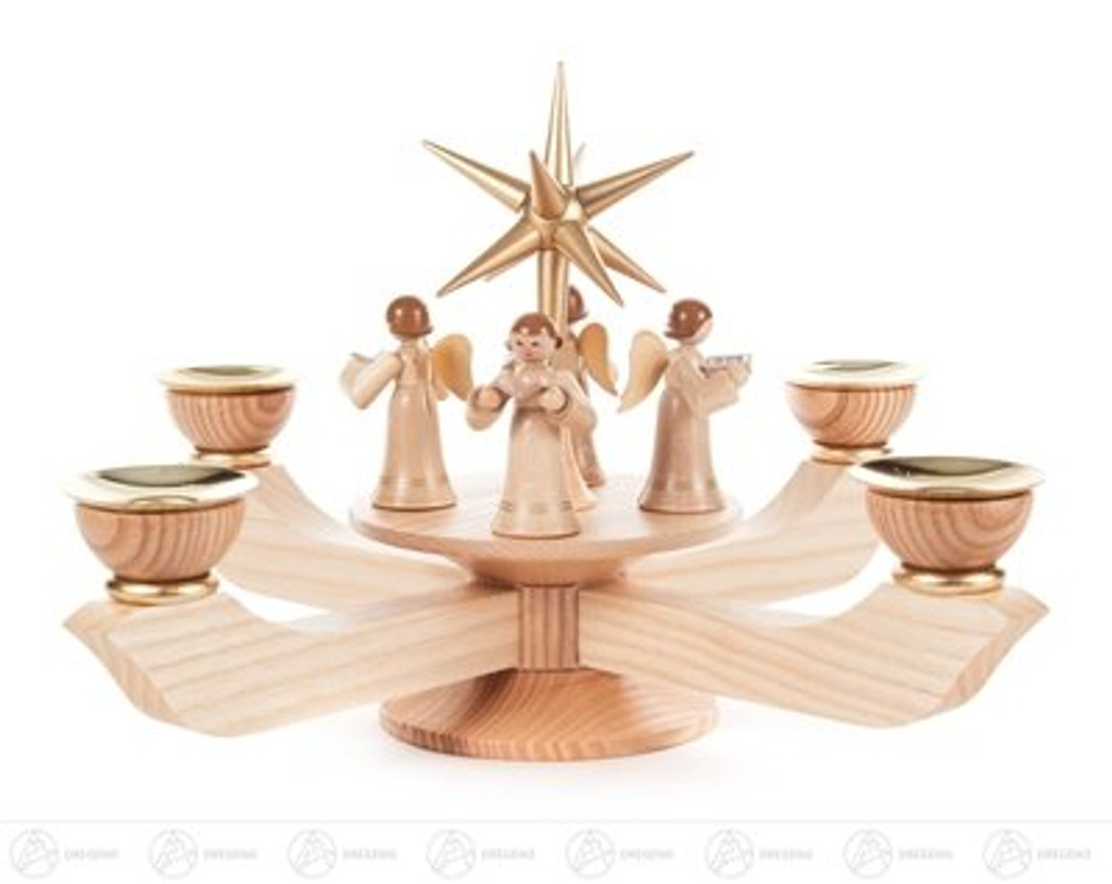 Advent Large Candle Holder Natural with Gold Star - Standing Angels
