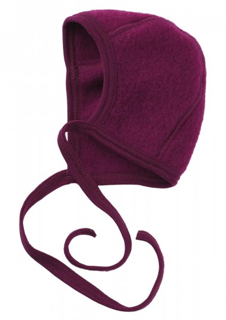 Engel Organic Merino Wool Fleece Baby Bonnet - Berry