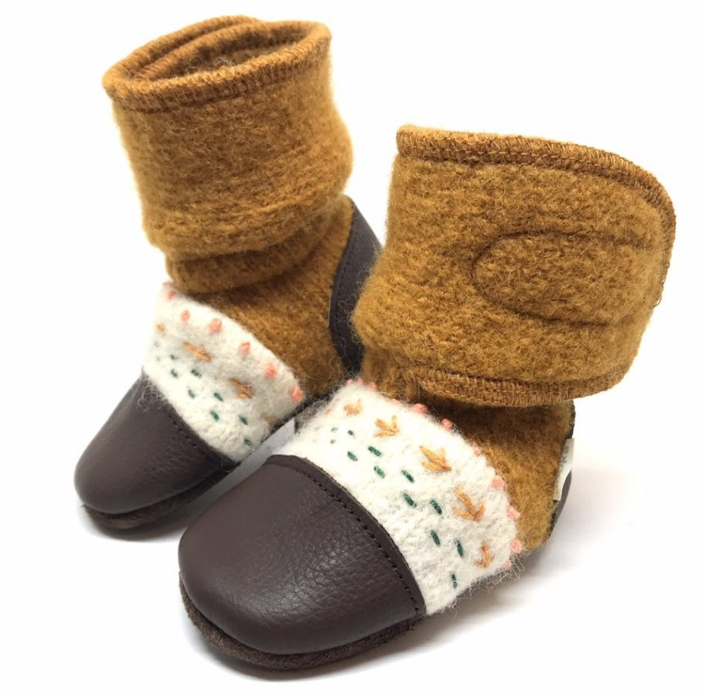 42af67716a58e Nooks Wool Booties - Golden Spruce (Embroidered)