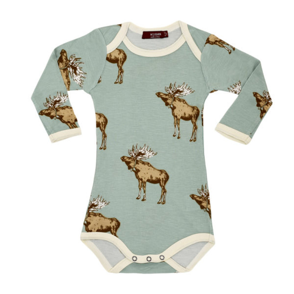 Milkbarn Bamboo Long Sleeve Onesie - Blue Moose
