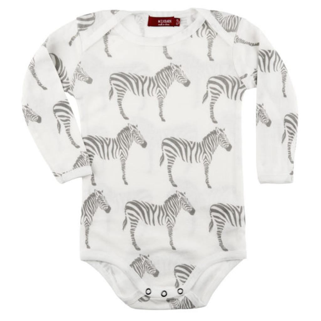 Milkbarn Organic Cotton Long Sleeve Onesie - Grey Zebra