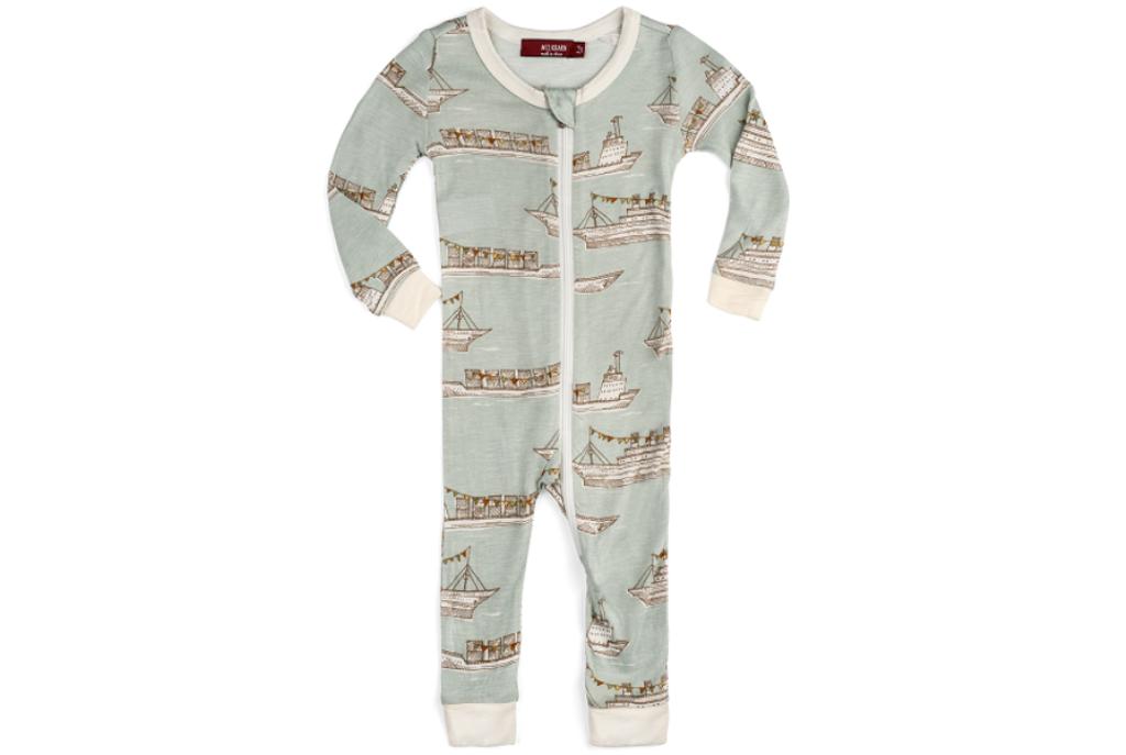Milkbarn Bamboo Zipper Pajamas - Blue Ships