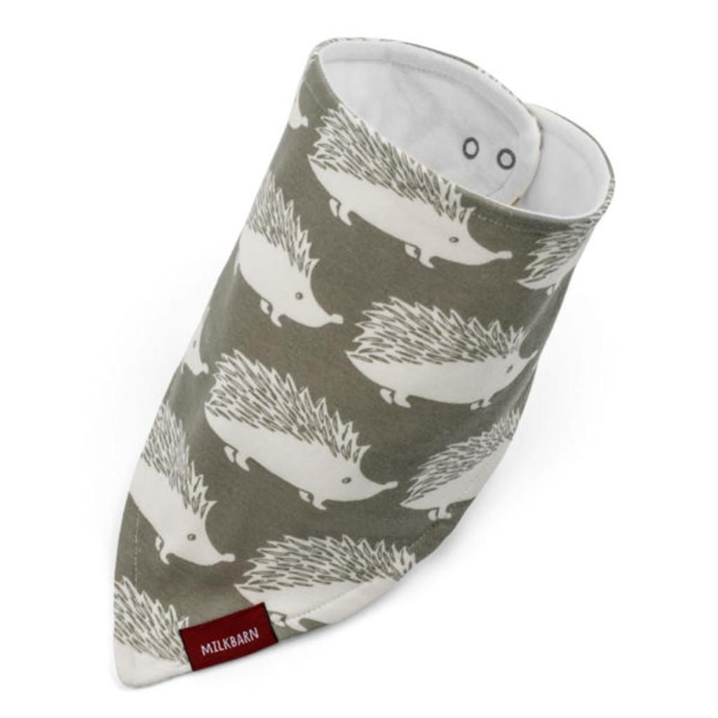 Milkbarn Organic Cotton Bandana Bib - Grey Hedgehog