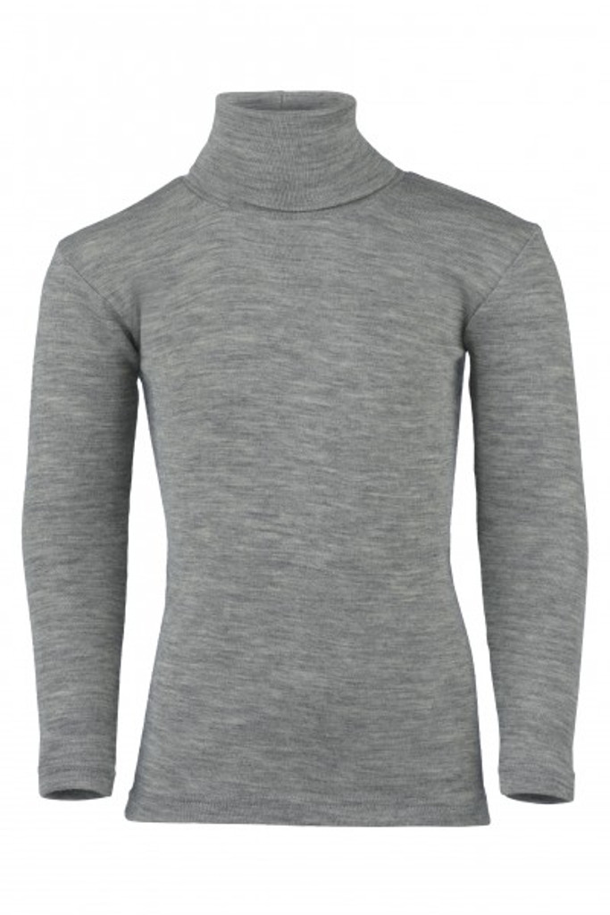Engel Organic Merino Wool/Silk Kids Turtle Neck Shirt - Grey (707410-091)