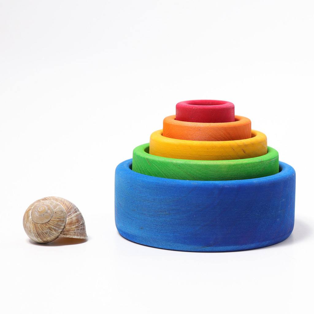 Grimm's Stacking Bowls - Rainbow (Blue Outside) (10350)
