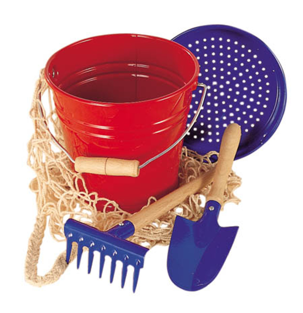 Enamel Bucket Set - Red - 4 pieces