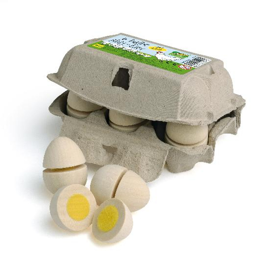 Erzi Wooden White Eggs to Cut in Carton (e17015)
