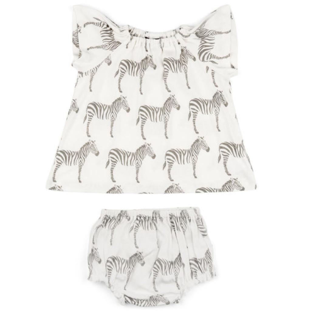 Milkbarn Organic Cotton Dress and Bloomer - Grey Zebra