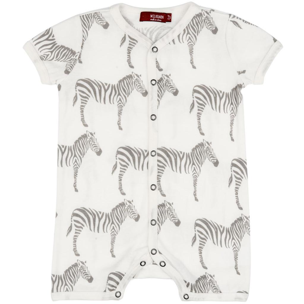 Milkbarn Cotton Romper - Grey Zebra