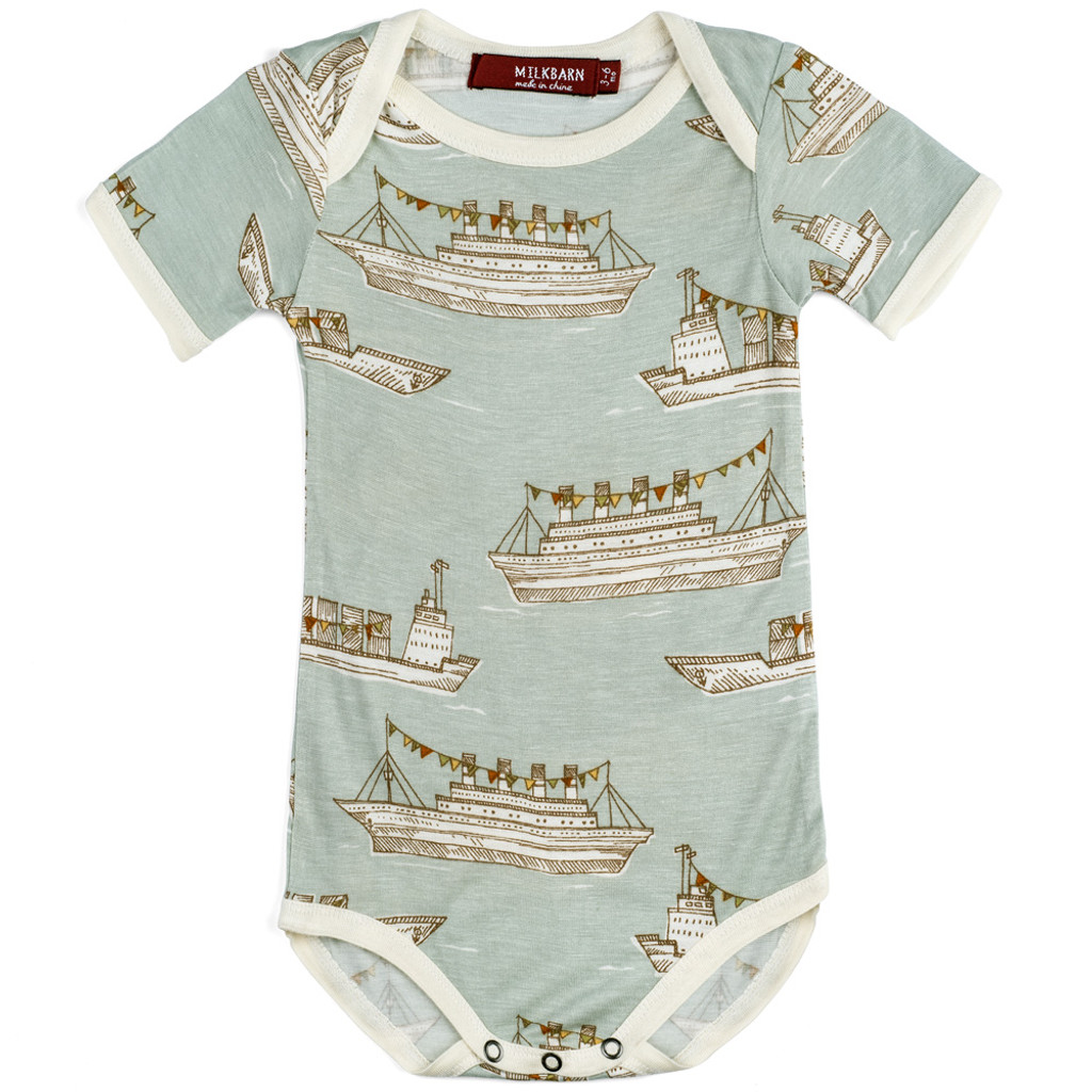 59c6ab1ebd Milkbarn Bamboo Onesie Short Sleeve Blue Ships - Organic Cotton and ...