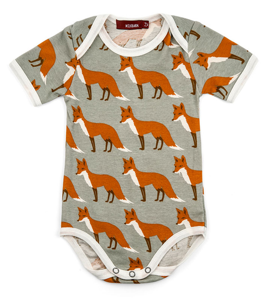 Milkbarn Organic Cotton Onesie Short-Sleeve - Orange Fox