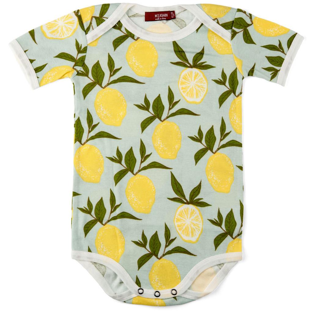 Milkbarn Organic Cotton Onesie Short-Sleeve - Lemon