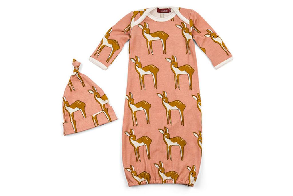 Milkbarn Organic Cotton Newborn Gown & Hat Set - Deer