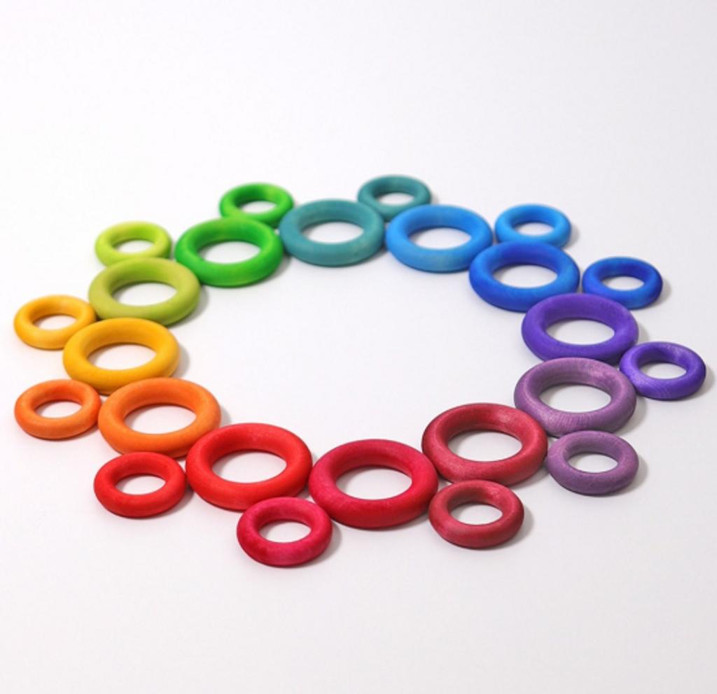 Grimm's Building Rings Rainbow (24 pc)