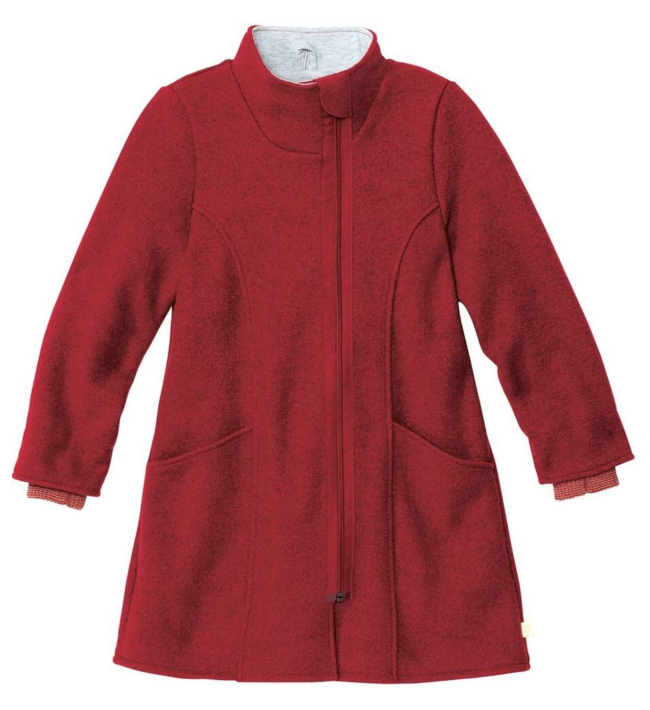 Disana Children's Boiled Wool Coat with Zipper Bordeaux