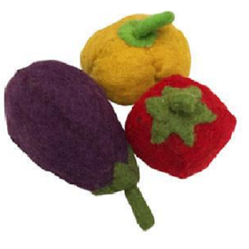 Papoose Felt Eggplant, Pepper and Tomato Set of 3 (PP037)