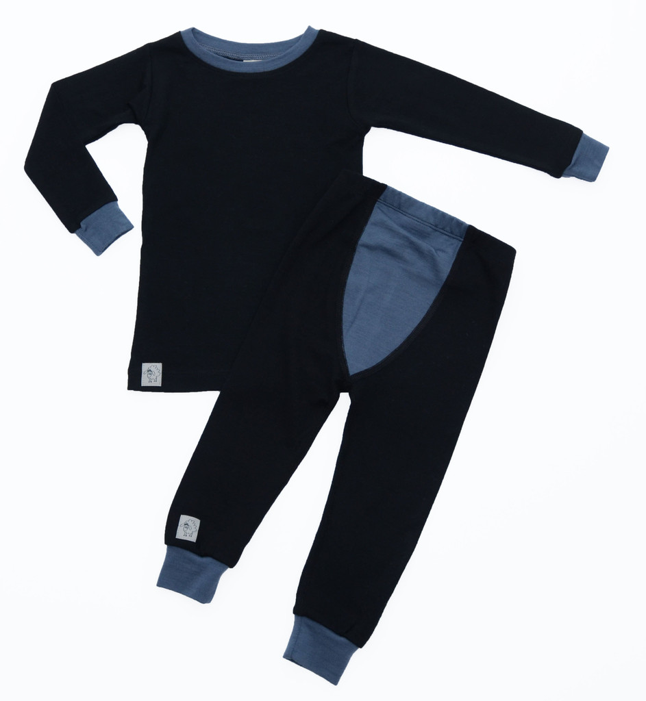 Wee Woollies Pajama 2 Piece Set - Raven/Charcoal (black/grey)