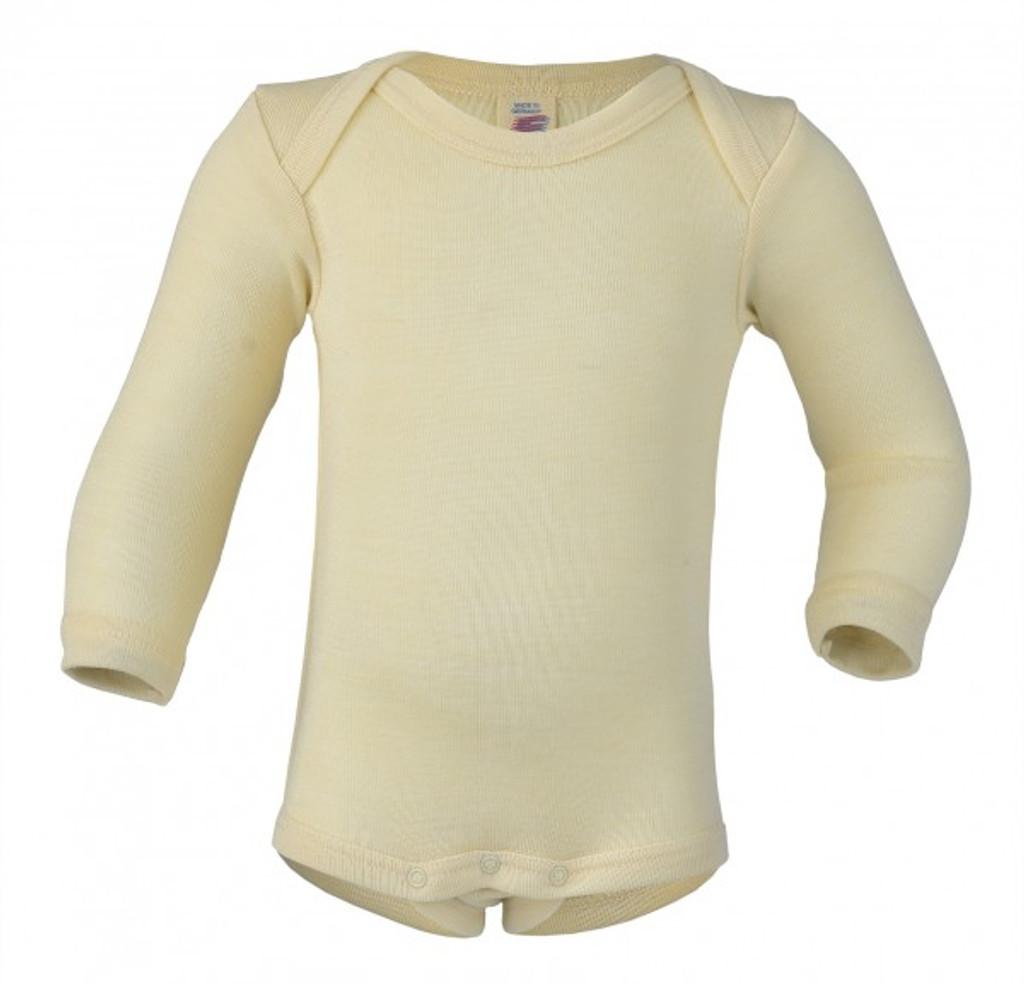 Engel Baby Long Sleeve Onesie Organic Merino Wool/Silk - Natural (up to 3 yrs)