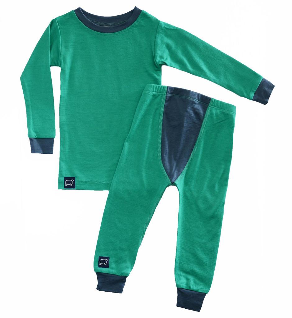 Wee Woollies Pajama 2 Piece Set - Koru/Charcoal (green/grey)