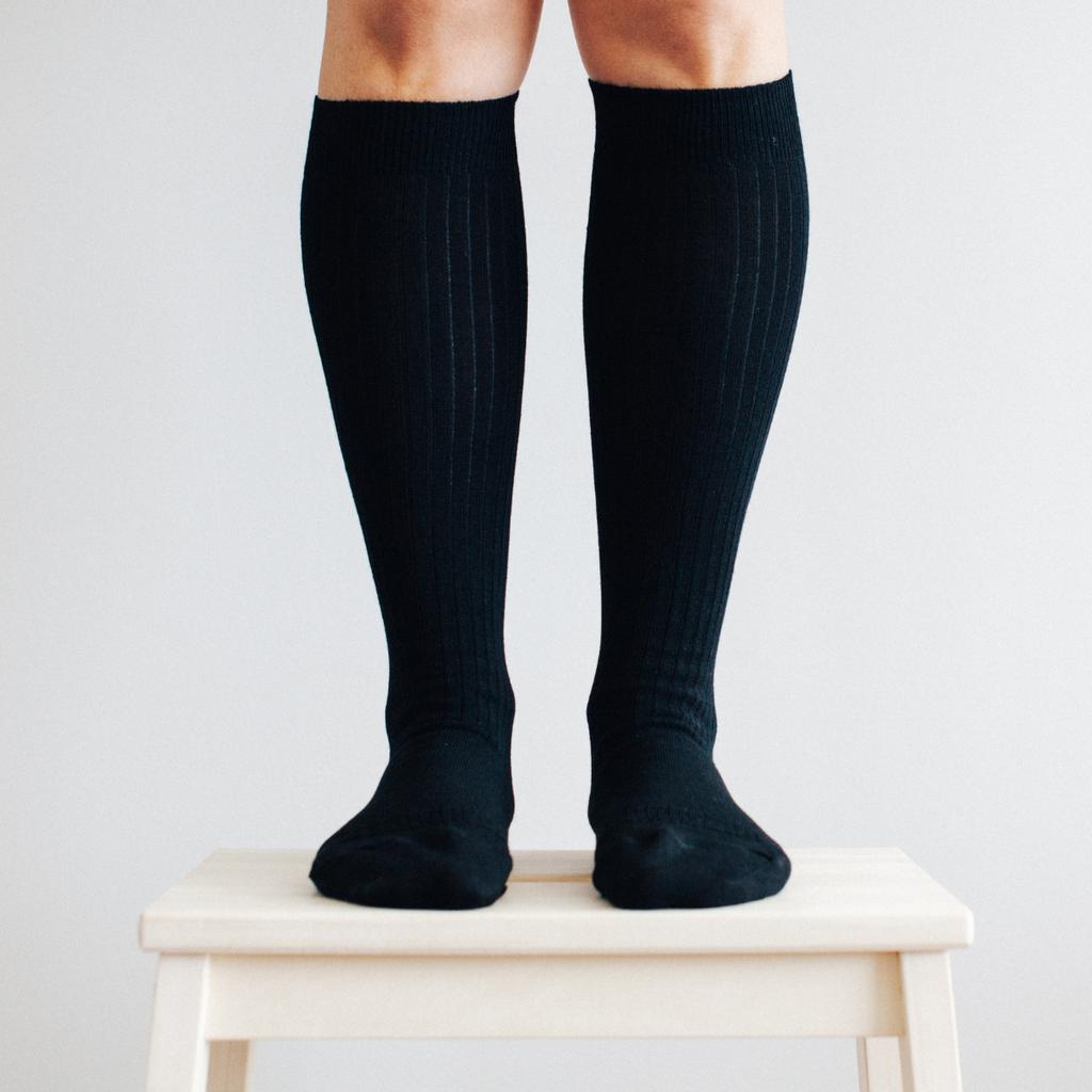 Lamington Merino Wool Socks Woman - Black Rib