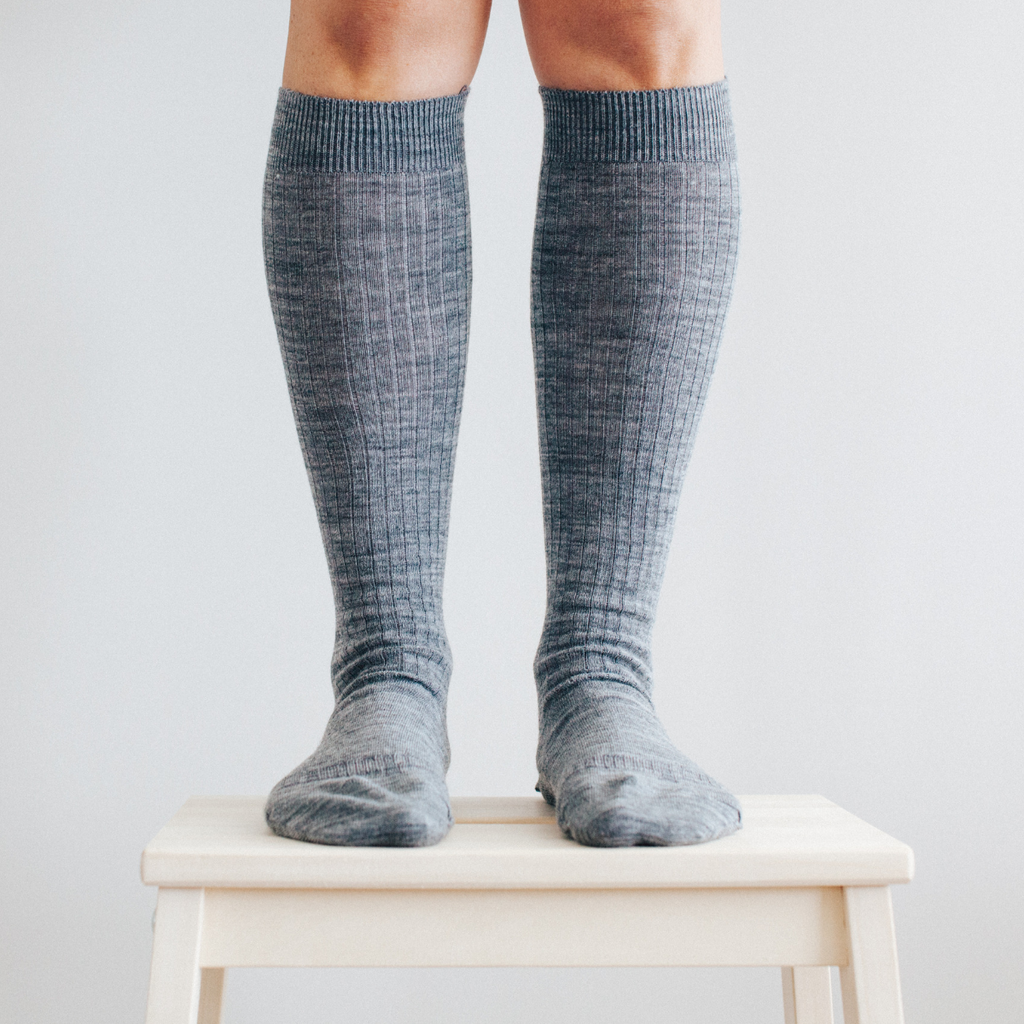 Lamington Merino Wool Socks Women's - Knee High - Grey Rib