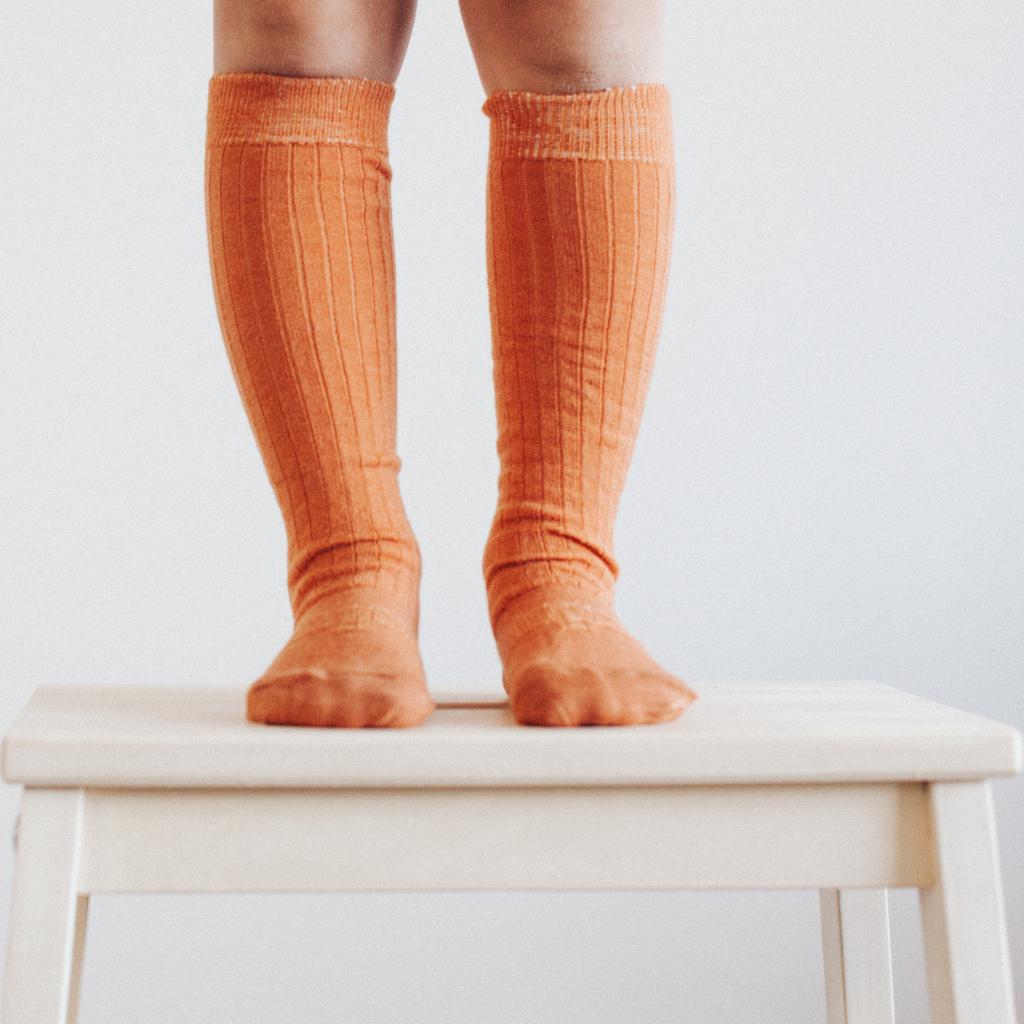 Lamington Kneehigh Length Wool Socks - Cinnamon Rib