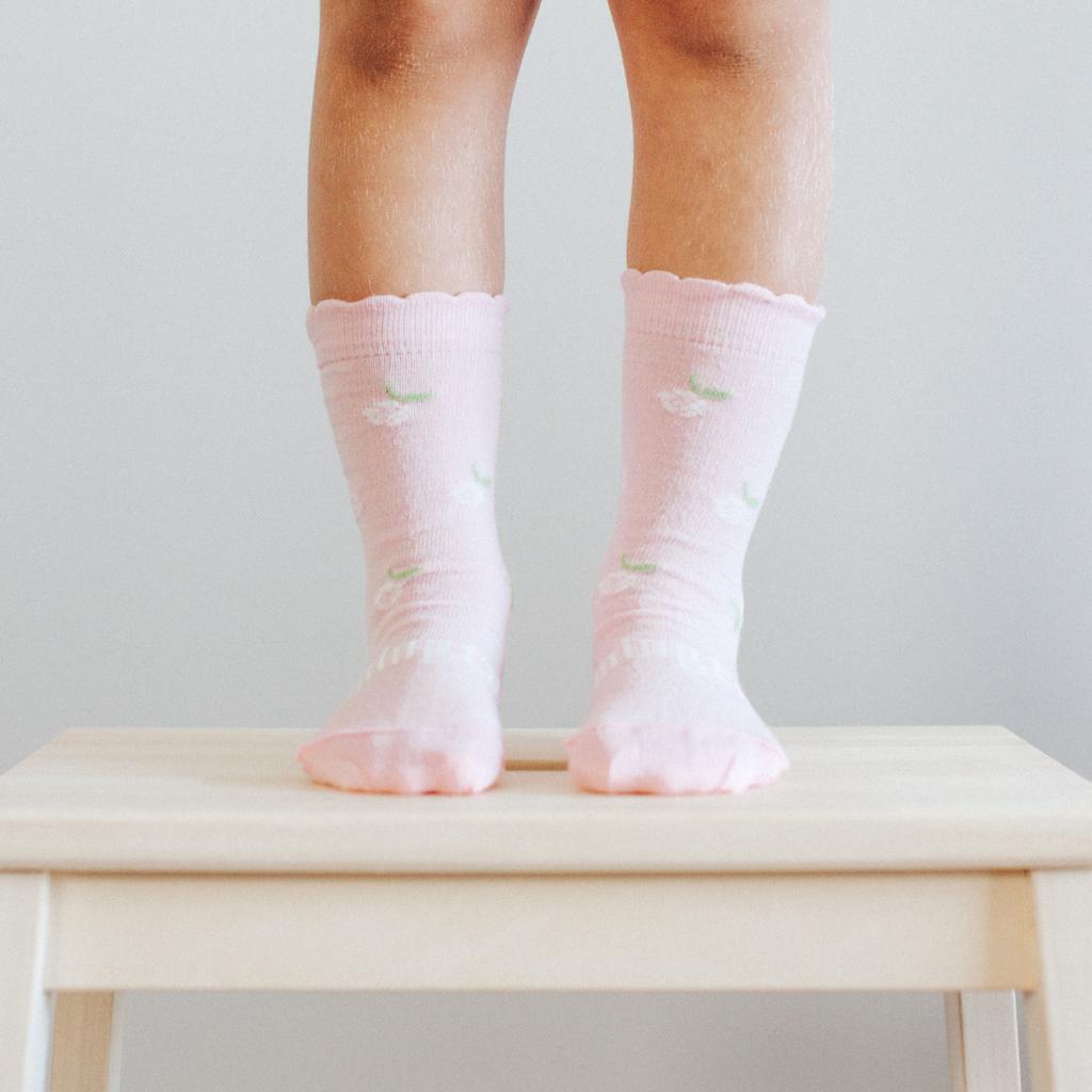 Lamington Crew Length Wool Socks Jasmine Frill (pistachio, natural, cherry blossom print)