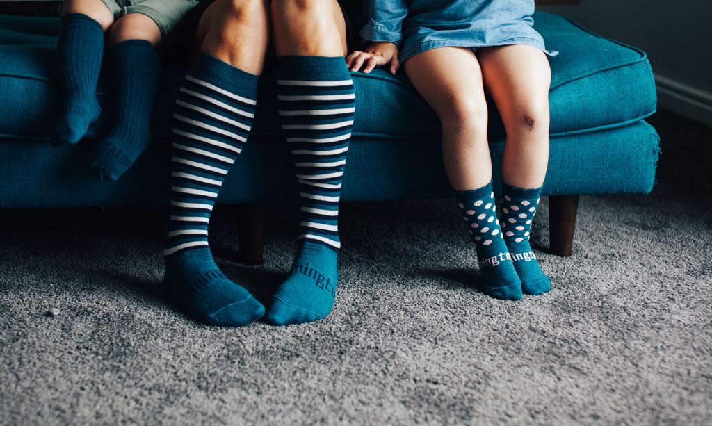 Lamington Crew Length Wool Socks - Lake (deep lake blue/black dots) 3 month - Youth