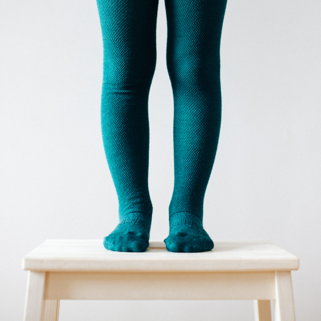 Lamington Merino Wool Tights Textured Knit - Deep Forest