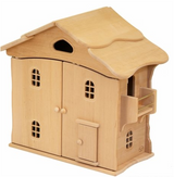 Wooden Dollhouse with Doors