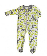 Silkberry Bamboo Footed Sleeper - Wild by Nature - Lime & Dove Grey