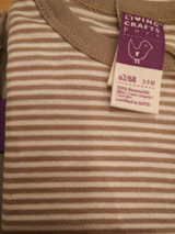 Living Crafts Organic Cotton Long Sleeve Onesie - Taupe Stripe