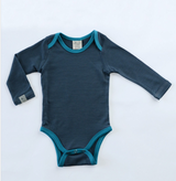 Wee Woollies Long-Sleeve Onesie - Charcoal Surf
