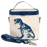 So Young Raw Linen Cooler Bag - Blue Dinosaur